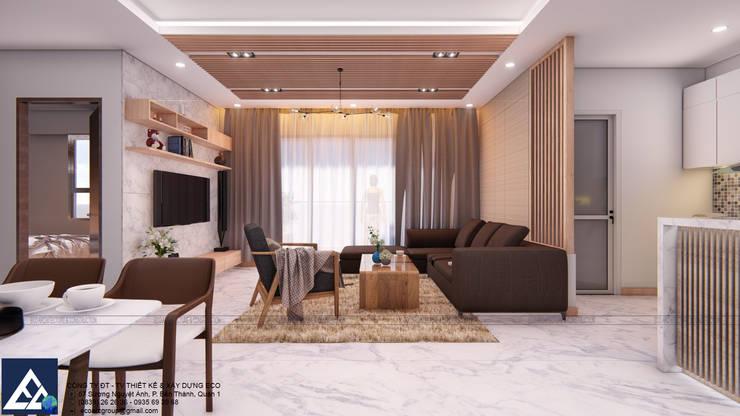 Thiết kế & Thi công Nội Thất Căn hộ - GoldView Quận 4:  Phòng khách by Công ty ĐT-TV Thiết Kế & Xây Dựng ECO