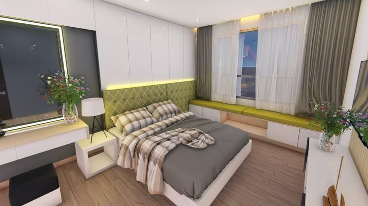Thiết kế & Thi công Nội Thất Căn hộ – GoldView Quận 4:  Phòng ngủ by Công ty ĐT-TV Thiết Kế & Xây Dựng ECO