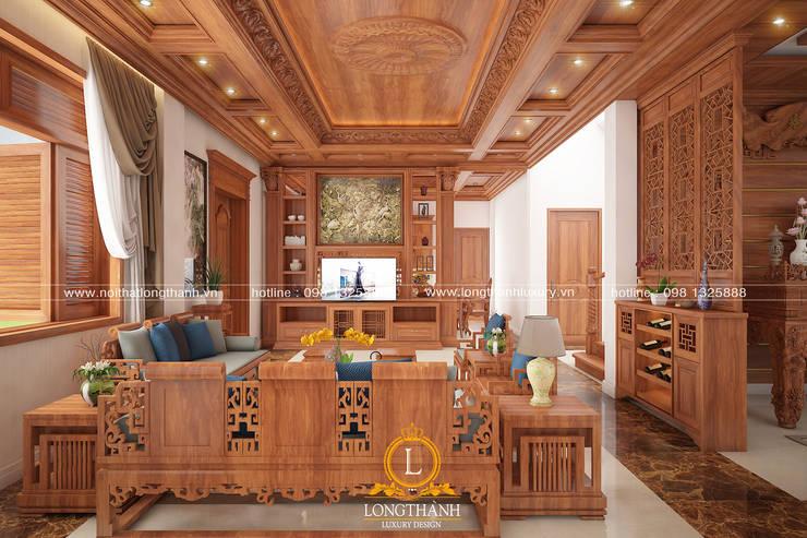 Dự án thiết kế nội thất biệt thự Bắc Ninh:  Phòng khách by Nội thất Long Thành