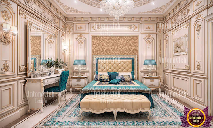 Interior of the bedroom with a mood of eternal happiness from Katrina Antonovich:  Bedroom by Luxury Antonovich Design, Classic