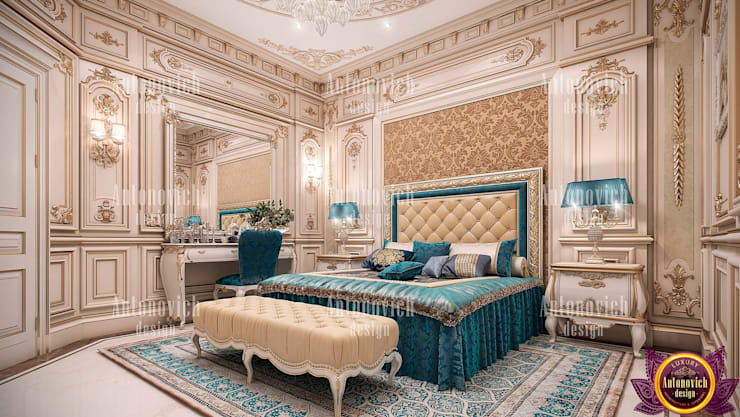 ​Interior of the bedroom with a mood of eternal happiness from Katrina Antonovich:  Bedroom by Luxury Antonovich Design