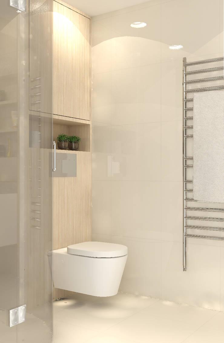 Render van de houten toiletpot ombouw:  Badkamer door Stefania Rastellino interior design