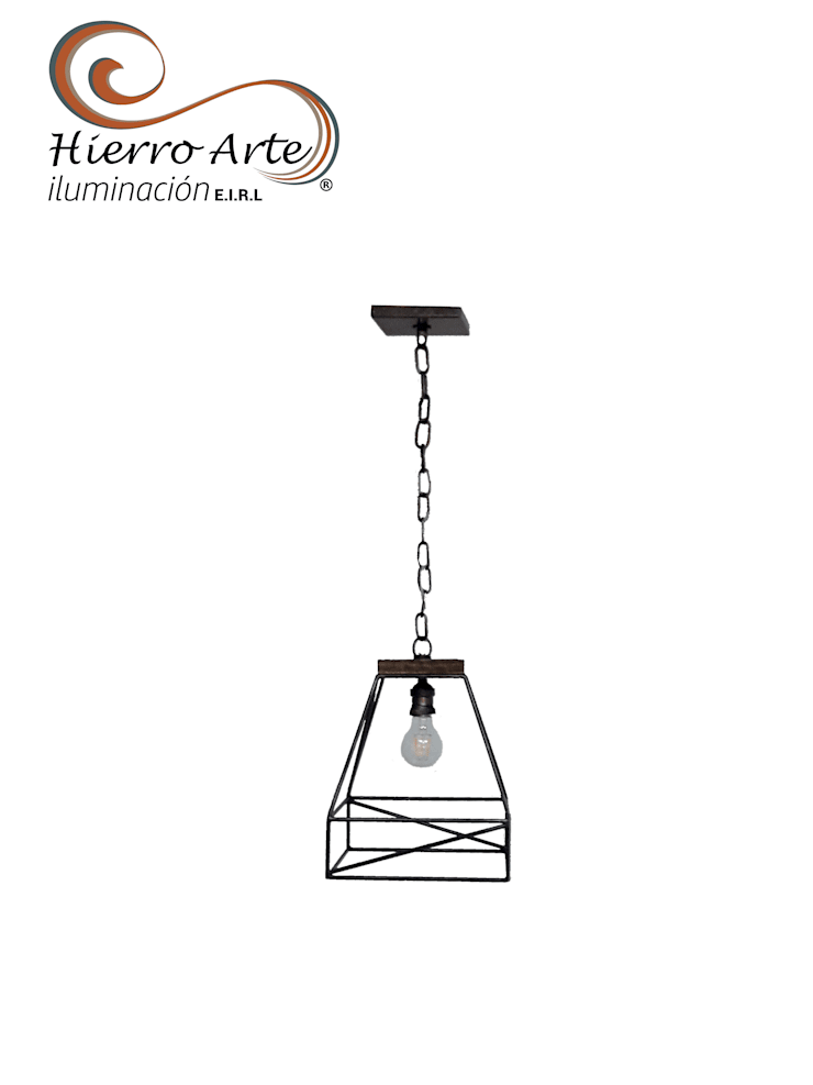 de estilo industrial por Hierro Arte Iluminación EIRL, Industrial Hierro/Acero