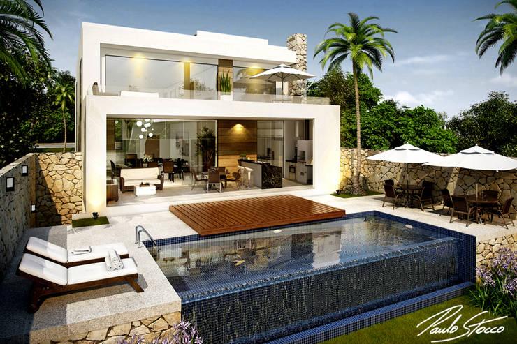 Fachada posterior: Casas  por Paulo Stocco Arquiteto