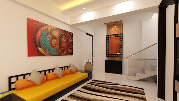 Lobby and bedroom:  Living room by Fuze Interiors