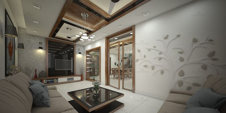 Choosing Perfect Tiles for Residential Interiors: asian Living room by Monnaie Interiors Pvt Ltd