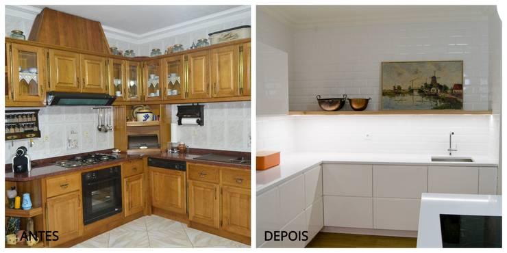 Remodelação total de cozinha em Paredes :   por Tangerinas e Pêssegos - Design de Interiores & Decoração no Porto