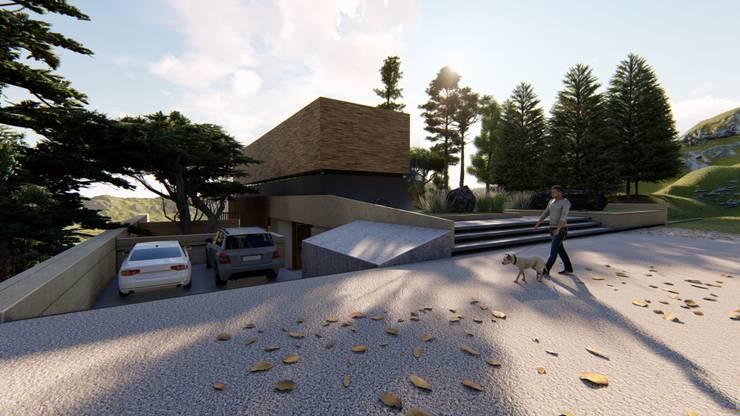 Casa di campagna in stile  di Mimesis Arquitectura y diseño , Moderno Cemento