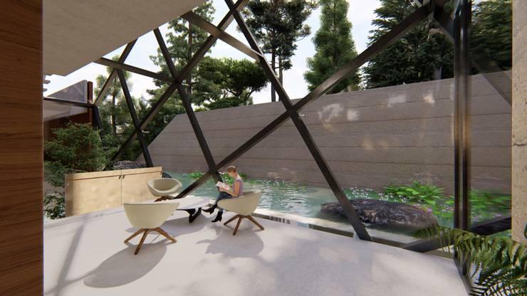 Terrazza in stile  di Mimesis Arquitectura y diseño , Moderno Vetro