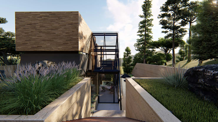 Casa di campagna in stile  di Mimesis Arquitectura y diseño , Moderno