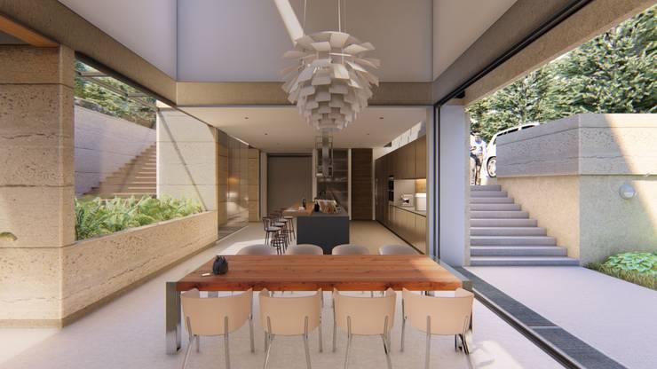 Sala da pranzo in stile  di Mimesis Arquitectura y diseño , Moderno Cemento