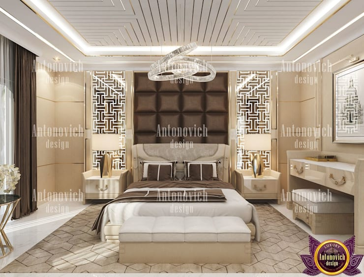 Perfect comfort in the interiors of Katrina Antonovich:  Bedroom by Luxury Antonovich Design, Modern