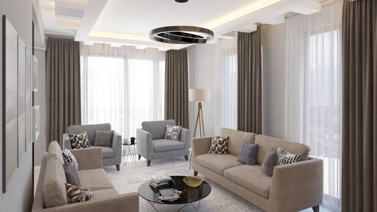 Dündar Design - Mimari Görselleştirme – Villa - İç Mekan:  tarz Oturma Odası