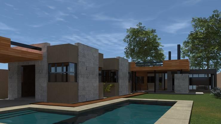 Vista peatonal  - jardín: Casas unifamiliares de estilo  por BM3 Arquitectos,