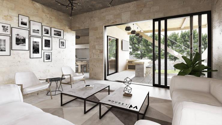 SALA: Salas de estilo  por Mouret Arquitectura