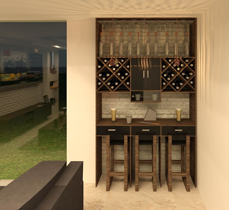 Bar- sala de TV: Salas multimedia de estilo moderno por Perfil Arquitectónico