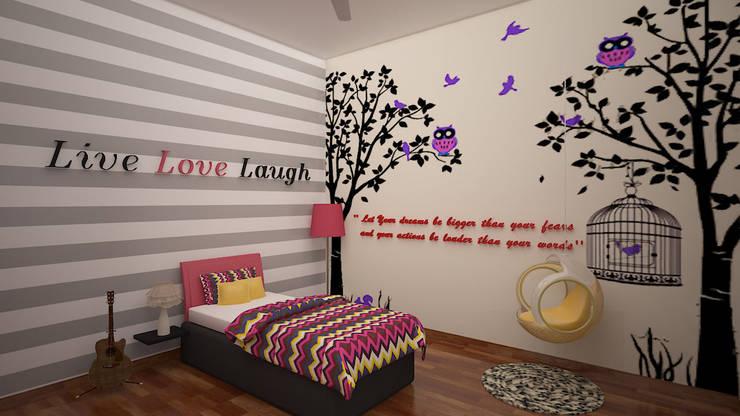 Gurumurthy Residence:  Bedroom by Designasm Studio