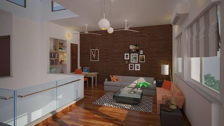 Gurumurthy Residence:  Living room by Designasm Studio