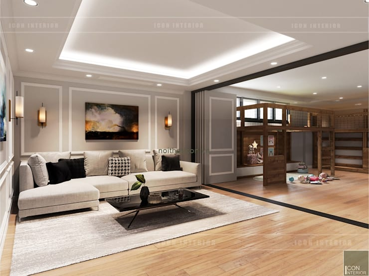 Thiết kế nội thất biệt thự 3 tầng sang trọng với phong cách hiện đại – ICON INTERIOR:  Phòng giải trí by ICON INTERIOR