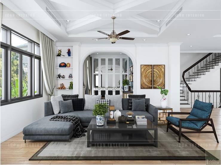 Thiết kế nội thất biệt thự 3 tầng sang trọng với phong cách hiện đại – ICON INTERIOR:  Phòng khách by ICON INTERIOR