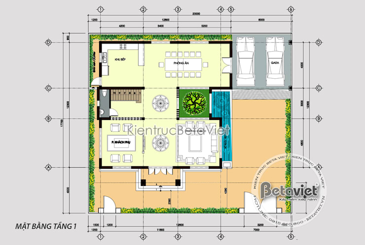 Mặt bằng tầng 1 mẫu biệt thự đẹp 3 tầng đẹp mê ly (CĐT: Ông Nam - Quảng Ninh) KT18301:   by Công Ty CP Kiến Trúc và Xây Dựng Betaviet