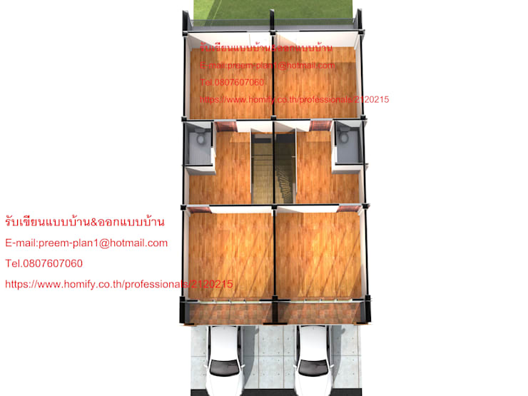แปลนพื้นอาคารพาณิชย์ 2 คูหา:   by รับเขียนแบบบ้าน&ออกแบบบ้าน