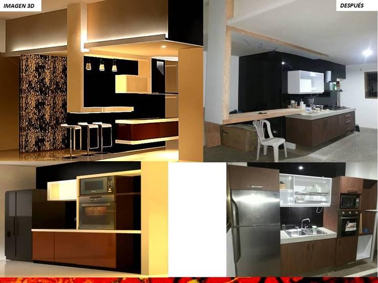 Built-in kitchens by HZ ARQUITECTOS SANTIAGO DISEÑO COCINAS JARDINES PAISAJISMO REMODELACIONES OBRA, Minimalist Stone