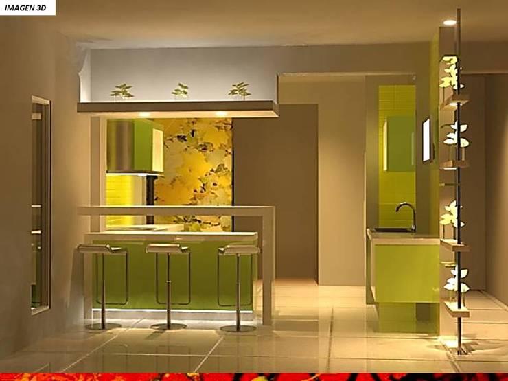 Módulos de cocina de estilo  de HZ ARQUITECTOS SANTIAGO DISEÑO COCINAS JARDINES PAISAJISMO REMODELACIONES OBRA