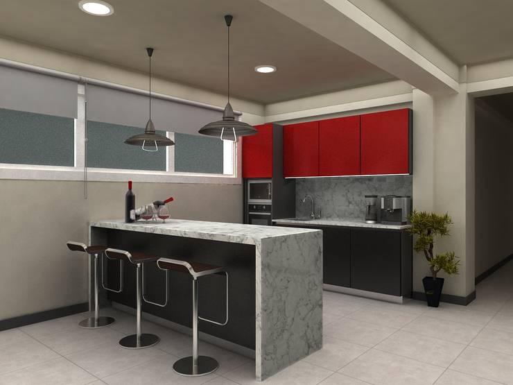 Built-in kitchens by HZ ARQUITECTOS SANTIAGO DISEÑO COCINAS JARDINES PAISAJISMO REMODELACIONES OBRA, Minimalist Concrete