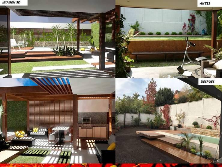 PAISAJISMO DISEÑO DE JARDINES: Terrazas  de estilo  por HZ ARQUITECTOS