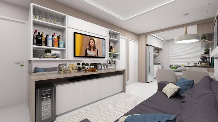Sala e Cozinha Integradas: Salas de estar modernas por Pocket Space Arquitetura