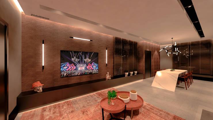 Wohnzimmer von Studio Diego Duracenski Interiores, Modern Ziegel
