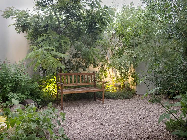 Dos Cantos, Juriquilla Sta Fé.  Queretaro, Mexico.: Jardines de piedra de estilo  por Hábitas