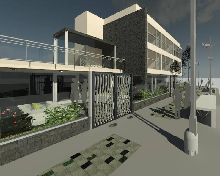 Intervención en exteriores de Edificio España: Casas de estilo  por ESTUDIO KULUMAK