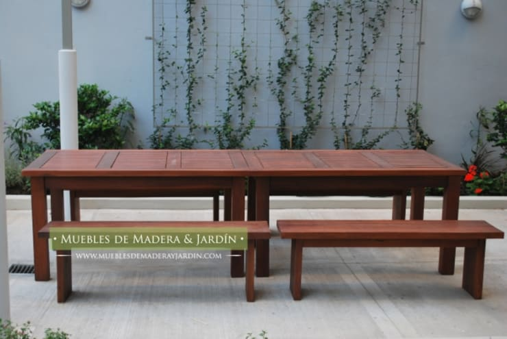 Banco sin respaldo : Jardines de estilo  por Muebles de Madera y Jardín .COM