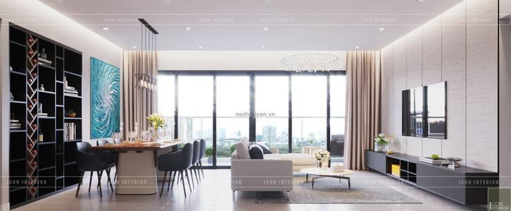 Thiết căn hộ Gateway Thảo Điền: Đẳng cấp của một căn hộ phong cách hiện đại :  Phòng khách by ICON INTERIOR