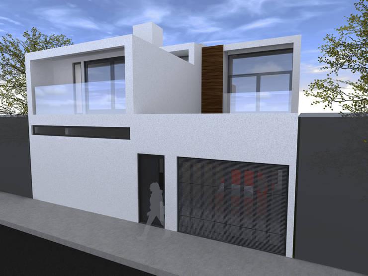 Fachada Exterior 2ª etapa: Casas unifamiliares de estilo  por Arq. Máximo Alvarado Bravo