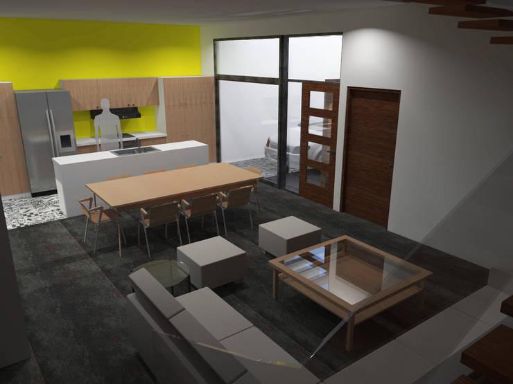 Sala, comedor, cocina: Salas de estilo  por Arq. Máximo Alvarado Bravo