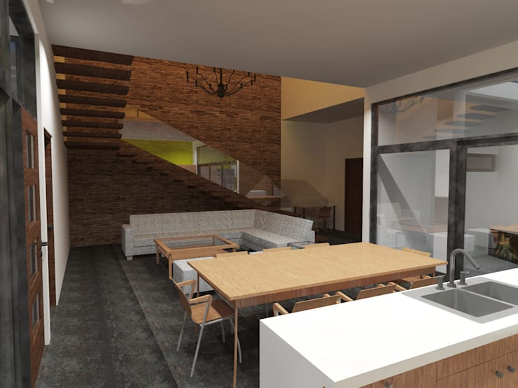 Cocina, comedor y sala.: Comedores de estilo  por Arq. Máximo Alvarado Bravo
