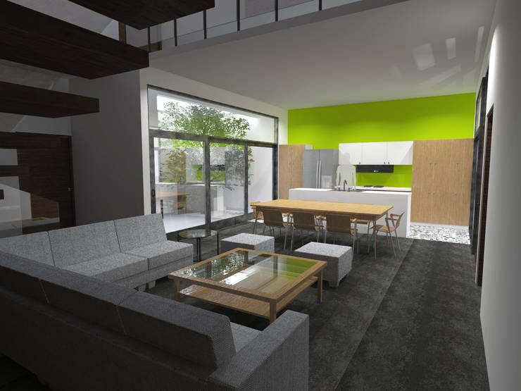 Sala, comedor y cocina.: Salas de estilo  por Arq. Máximo Alvarado Bravo