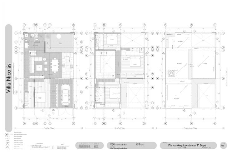 Plantas Arquitectónicas 2ª Etapa:  de estilo  por Arq. Máximo Alvarado Bravo