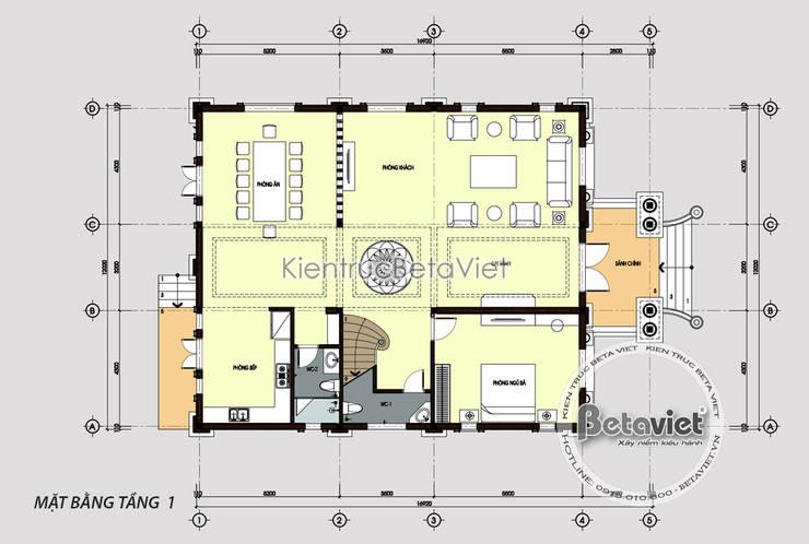 Mặt bằng tầng 1 mẫu lâu đài dinh thự đẹp 2 tầng Tân cổ điển đẹp (CĐT: Ông Luận - Phú Thọ) KT18057:   by Công Ty CP Kiến Trúc và Xây Dựng Betaviet