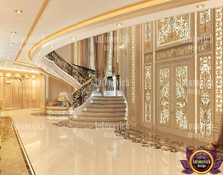 ​Fashionable interior of 2019 by Katrina Antonovich:  Corridor & hallway by Luxury Antonovich Design