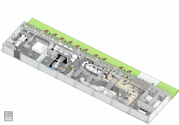 Planta y corte Isométrico 01 (Planta Distribución): Oficinas de estilo  por Eisen Arquitecto