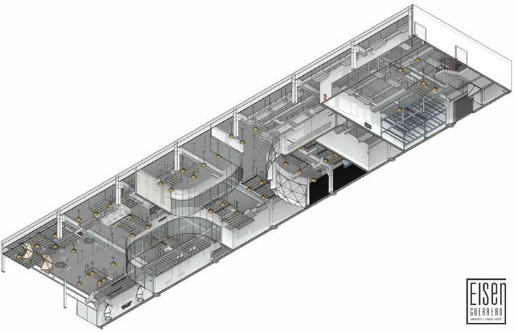 Planta Isométrica 3D del Techo.01: Oficinas de estilo  por Eisen Arquitecto