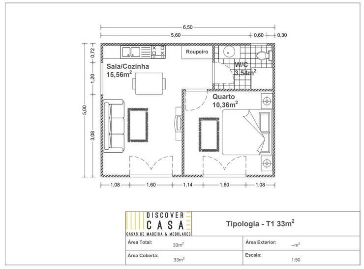 Modelo | T1 33m²:   por Discovercasa | Casas de Madeira & Modulares