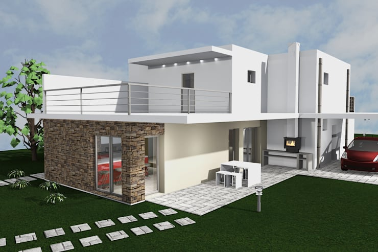 Vista lateral : Casas unifamilares  por DHPRO