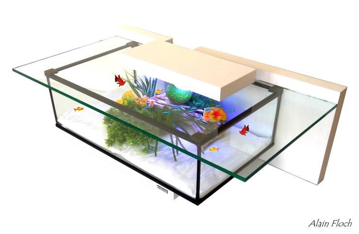 Table Basse Blanche Avec Aquarium Tiny 20 Led Sans Fil