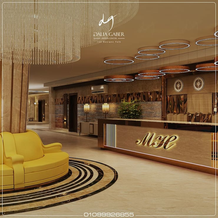 Lobby Hotel Entrance by Dalia Gaber :  تصميم مساحات داخلية تنفيذ DeZign center office by Dalia Gaber