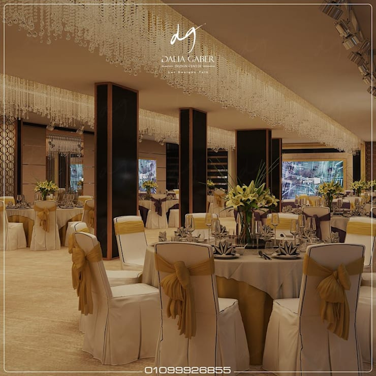 Wedding Hall at Hotel by Dalia Gaber :  تصميم مساحات داخلية تنفيذ DeZign center office by Dalia Gaber